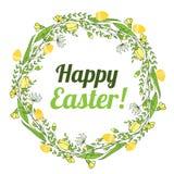 复活节快乐的题字在花和鸡蛋花圈的  库存图片