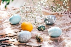 复活节快乐,季节问候 与春天花的时髦的复活节彩蛋和在土气织品的杨柳分支在晴朗的光 库存照片