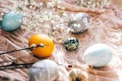 复活节快乐,季节问候 与春天花的时髦的复活节彩蛋和在土气织品的杨柳分支在晴朗的光 免版税库存图片