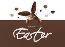 复活节快乐,显示与文本o的巧克力滑稽的兔宝宝标志 向量例证