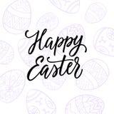 复活节快乐!假日与被绘的蛋线艺术和现代书法的明信片设计 库存图片