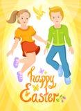 复活节快乐-男孩和女孩,晴朗的明信片 免版税库存图片