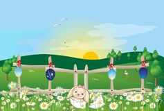 复活节早晨用复活节彩蛋和野兔 库存图片