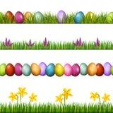 复活节春天无缝的边界 向量 向量例证