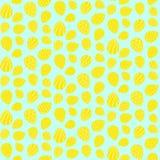 复活节样式用在蓝色的装饰的黄色鸡蛋 向量例证