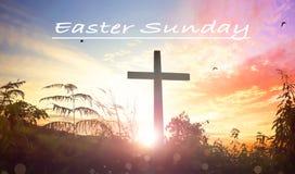 复活节概念:耶稣基督在十字架上钉死十字架 库存照片