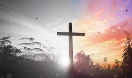 复活节概念:耶稣基督在十字架上钉死的例证在基督受难日的 免版税库存图片