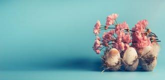 复活节横幅或模板用鸡蛋在条板箱箱子和装饰春天开花在蓝色背景 库存照片