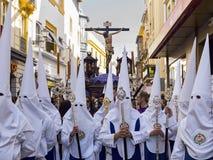 复活节狂欢节Semana圣诞老人在塞维利亚,西班牙 2015年4月2日 免版税图库摄影