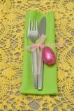 复活节的一个餐位餐具 免版税库存照片