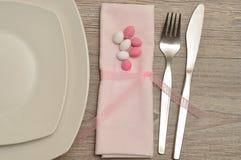 复活节的一个餐位餐具 库存照片