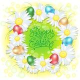 复活节的愉快的复活节wreast例证 海报 春黄菊和色的鸡蛋花圈在绿色背景 免版税图库摄影