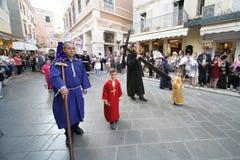 复活节的街道游行在科孚岛海岛上  免版税图库摄影
