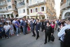 复活节的街道游行在科孚岛海岛上  免版税库存图片