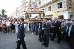 复活节的街道游行在科孚岛海岛上  图库摄影