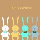 复活节看板卡用五颜六色的兔子 图库摄影