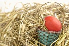 复活节篮子用红色鸡蛋 库存图片