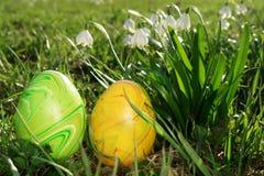 复活节花和鸡蛋 免版税库存照片