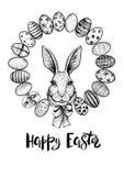 复活节花圈用一个野兔的鸡蛋和头与弓的 愉快的复活节黑白卡片 图库摄影