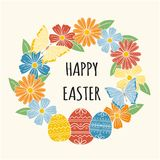 复活节花圈,五颜六色的春天贺卡 向量例证