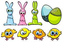 复活节设置了-鸡、兔子和鸡蛋 免版税库存图片