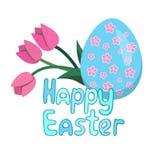 复活节贺卡用蓝色鸡蛋和花 皇族释放例证