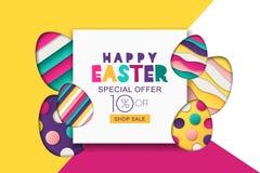 复活节销售横幅 装饰纸裁减鸡蛋 为假日飞行物,海报,贺卡,党邀请设计 库存例证