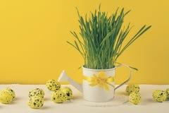 复活节静物画、明信片-土气静物画用鹌鹑蛋和在被编织的餐巾的白色喷壶 免版税库存图片