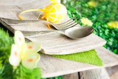 复活节餐位餐具 免版税库存图片