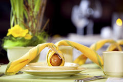 复活节餐位餐具 库存照片