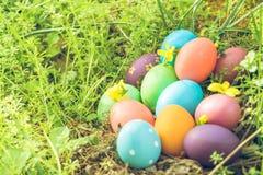 复活节,复活节快乐,五颜六色的复活节彩蛋寻找假日装饰复活节与拷贝空间的概念背景 免版税库存图片