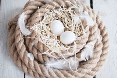 复活节,鸡蛋,鸡怂恿,鹌鹑蛋,鸡蛋,绳索,巢,白色,羽毛,在干草 库存图片
