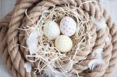 复活节,鸡蛋,鸡怂恿,鹌鹑蛋,鸡蛋,绳索,巢,白色,羽毛,在干草 图库摄影