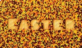 复活节 从可食的信件的词在给上釉的powd说谎 免版税图库摄影