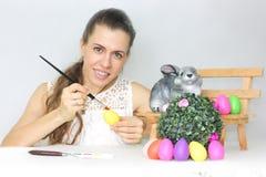 复活节 有复活节的美丽的女孩 免版税库存图片