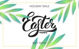 复活节 销售与时髦春天叶子和愉快的复活节字法的横幅背景 复活节销售设计模板 免版税库存图片