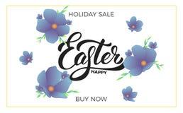 复活节 销售与时髦春天花和愉快的复活节字法的横幅背景 复活节销售设计模板 库存图片
