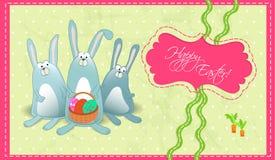 复活节gorizontal愉快的明信片兔子 图库摄影