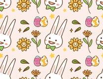 复活节kawaii背景用兔子、鸡蛋和花 向量例证