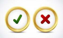 复选标记和是没有按钮概念 免版税库存照片