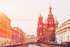 复活或救主的教会Spilled血液的在阳光下 彼得斯堡圣徒 免版税库存照片