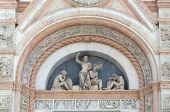 复活的半月形,圣Petronio大教堂门面在波隆纳 库存图片