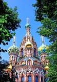 复活的大教堂在溢出的血液的在圣彼得堡 免版税库存图片