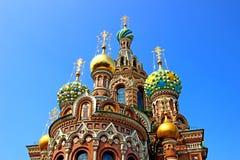 复活的大教堂在溢出的血液的在圣Petersbur 库存图片