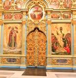 复活的大教堂的法坛 2007第23个耶路撒冷6月修道院新的俄国 Istra 假定大教堂dmitrov克里姆林宫莫斯科明信片区域俄国冬天 图库摄影
