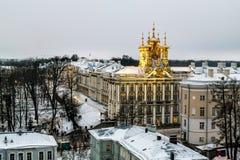 复活的教会在凯瑟琳宫殿在Tsarskoye 免版税库存照片
