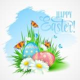 复活节与雏菊和鸡蛋的贺卡 向量 库存照片