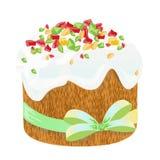 复活节传统蛋糕和鸡蛋 在白色隔绝的设计元素 EPS 10向量例证 库存图片
