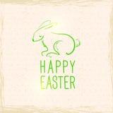 复活节兔子。葡萄酒背景。手拉的例证 免版税图库摄影