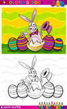 复活节兔子上色的动画片例证 免版税库存照片